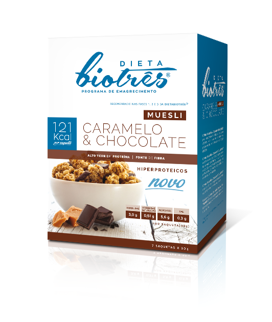 muesli caramelo e chocolate dieta biotrês