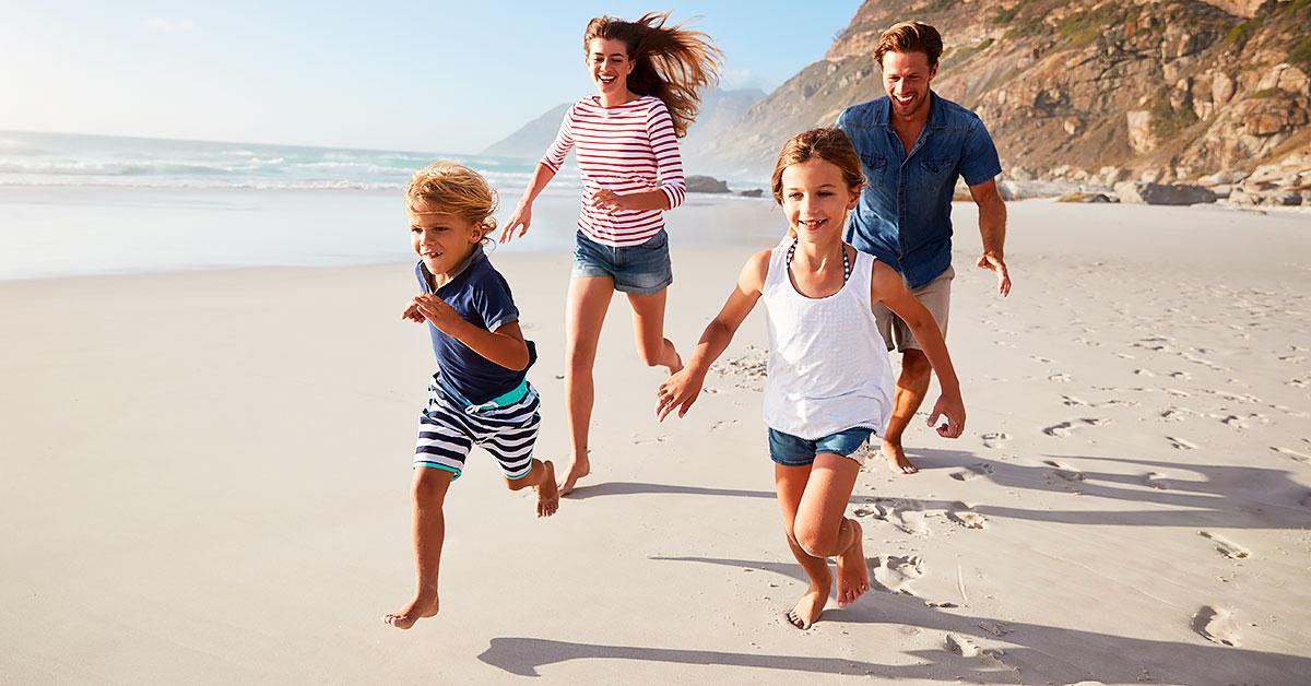 Mexa-se na praia com a família